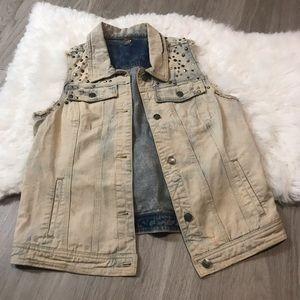 Free People Sleeveless Embellished Jean Vest